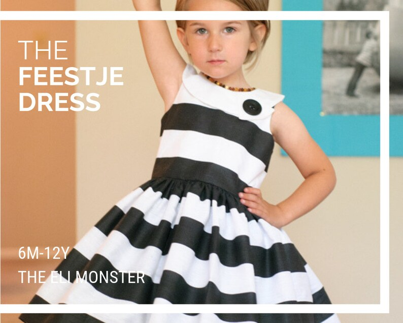 Child Party Dress PDF Sewing Pattern The Feestje Dress Sized image 0