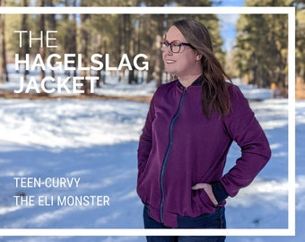 Adult and Curvy Jacket PDF Sewing Pattern, The Hagelslag Jacket Sized Teen-Curvy