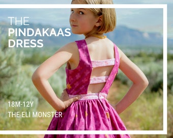 Child Dress PDF Sewing Pattern, The Pindakaas Dress Sized 18mo to 12y