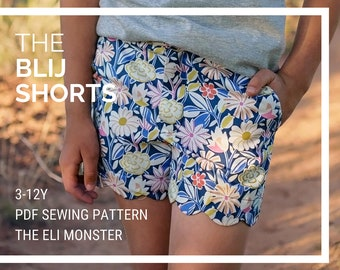 Child Shorts Sewing Pattern, The Blij Shorts, Sizes 3-12y