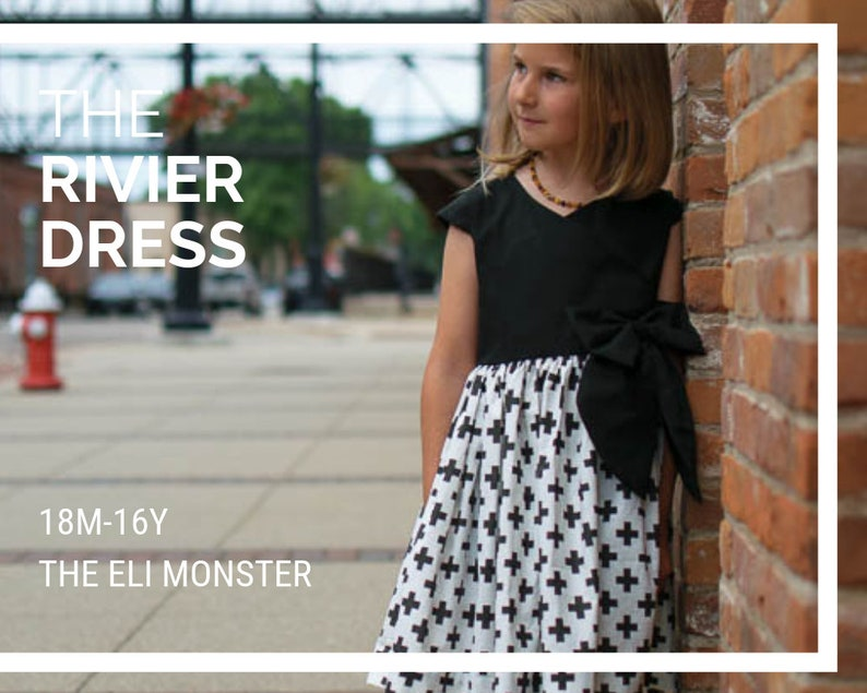 Wrap Dress Sewing Pattern The Rivier Dress Sized 18m-16y image 0
