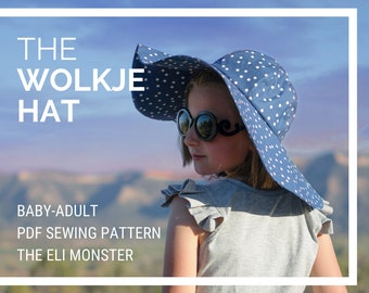 Sunhat PDF Sewing Pattern, The Wolkje Wide Brimmed Hat, Sized Baby-Adult,  vintage style pdf, retro sewing pattern, classic sewing pattern