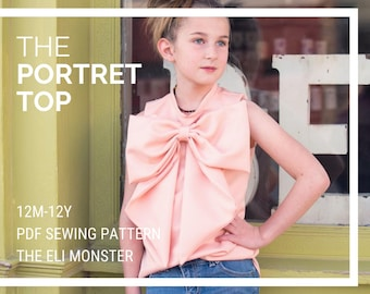 Child Bow Blouse PDF Sewing Pattern, The Portret Top Sized 12m to 12y