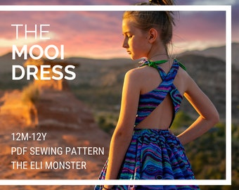 Child Dress PDF Sewing Pattern, The Mooi Dress Sized 12mo to 12y