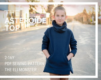 Child Sweatshirt PDF Sewing Pattern, The Asteroïde Shirt Sized 2Y to Teen 16