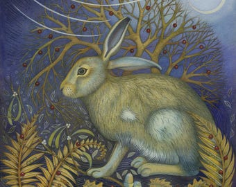 Fine art print of an original painting: 'Startled Hare'.