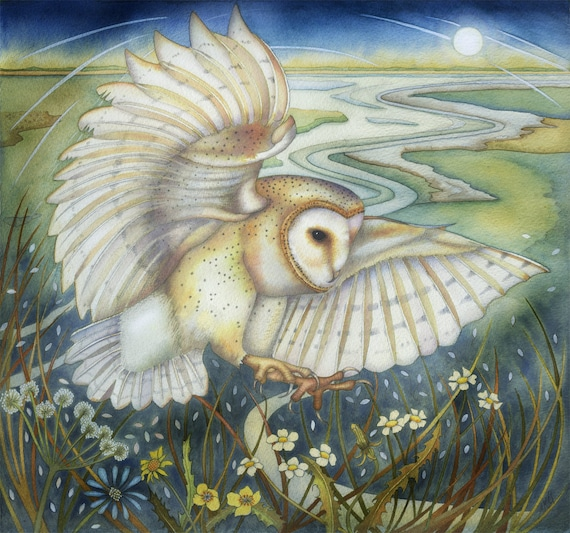 Fine art print of an original painting: 'Ghost Owl'.