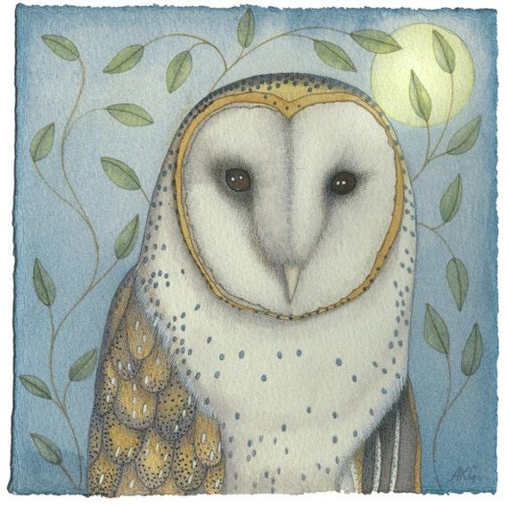 Fine art print of an original painting: 'Portrait of an Owl'