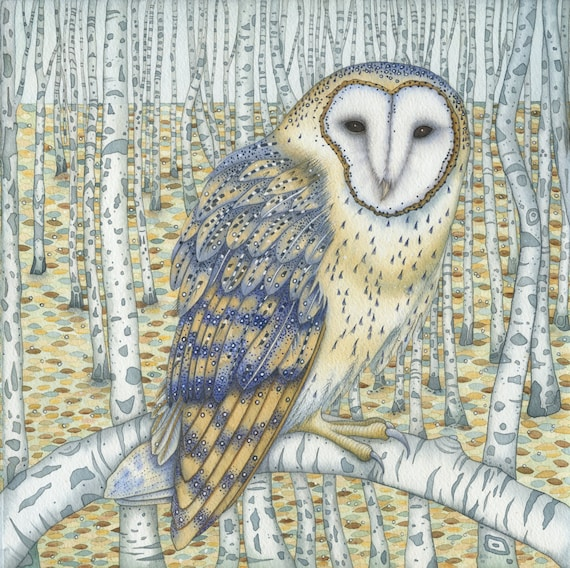 Fine art print of an original painting: 'Barn Owl Among the Birches'.