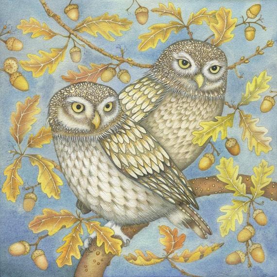 Fine art print of an original painting: 'Two Little Owls'