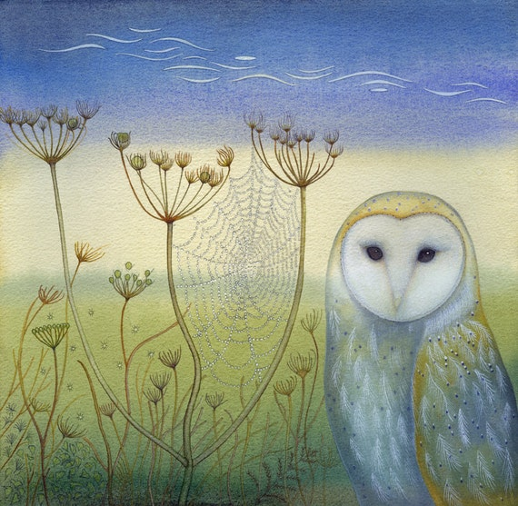Fine art print of an original painting: 'Barn Owl and Spider's Web'.