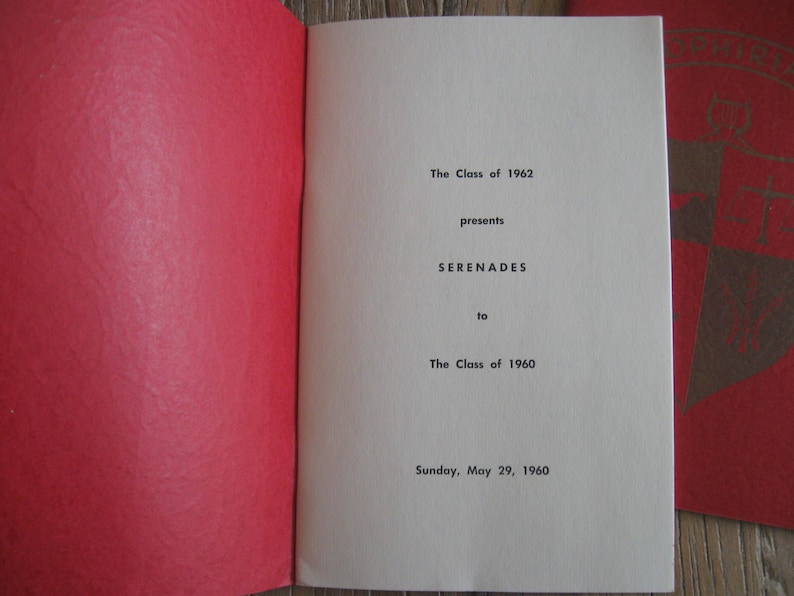 2 1960 Manhattanville College Ophiria Commencement Booklets Seranades by Class of 1962