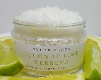 Coconut Lime Verbena Sugar Scrub - Coconut Lime Verbena Scrub - Natural Sugar Scrub - Coconut Lime Scrub