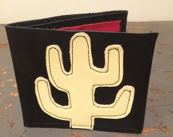 punk leather jacket style wallet with cactus applique