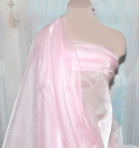 """1 mtr baby pink crystal organza fabric..45""""wide voile,wedding,bridal,sparkly"""