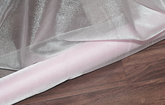 """SHEER 45/"""" BY THE YARD SPARKLE SATIN FABRIC IVORY SEMI"""