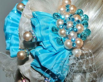 Turquoise/Gold fascinator, hair piece, stones, netting, formal, wedding, bridesmaids, clip on back ( REDUCED)