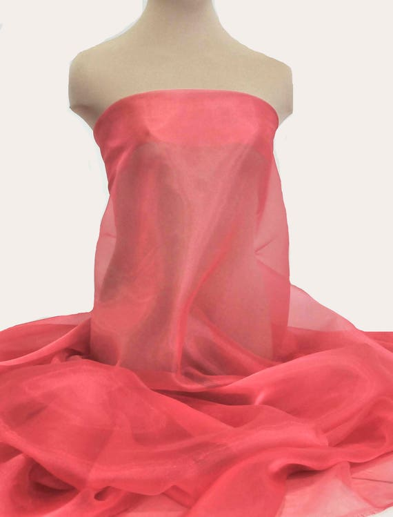 """IRIDESCENT CRYSTAL  ORGANZA FABRIC SHEER RED//BLACK 45/""""  PAGEANT FORMAL"""