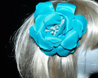 Turquoise Satin Hair Flower w/ pearl center, hair piece,formal, wedding, bridesmaids, clip on back (REDUCED)