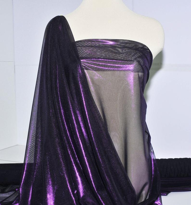 Foil Power mesh stretch fabric dance formal 54  wide. costume, pageant semi sheer 4 ways stretch..Royalblack.