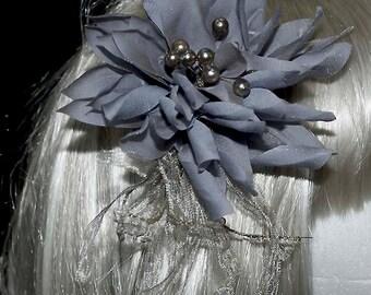 Blue/Gold shimmer satin  hair piece, formal, wedding, bridesmaids, clip on back (REDUCED)