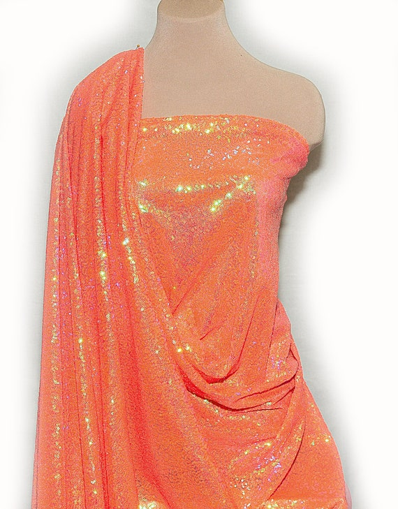 LYCRA STRETCH SEWN ON FISH EYE SEQUIN FABRIC CHOICE OF COLOR DANCE COSTUME