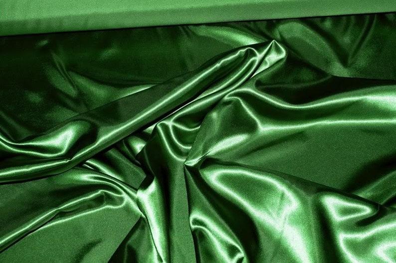 fb847b782f00e Satin Fabric 60 Emerald Green 100% polyester ... | Etsy