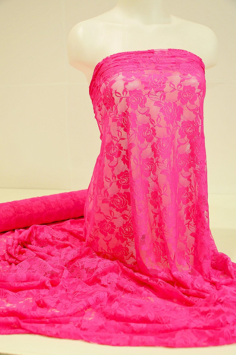 bridal Stretch Lace Flo Pink sold by the yard 4 way stretch  formal pageant lingerie- evening wear