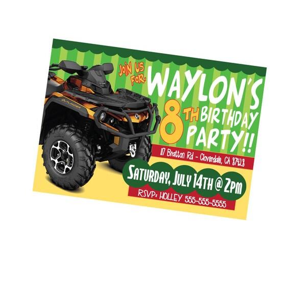 ATV Birthday Party Invite Boys Birthday Invite Four Wheeler