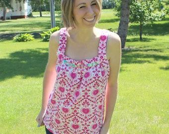 Sis Boom Dana Top Women's Blouse Sewing Pattern, PDF E-Book with Scientific Seamstress