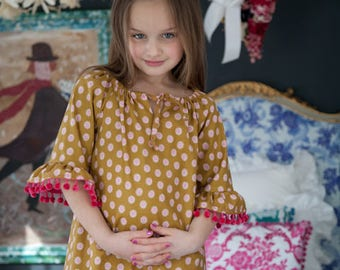 Sis Boom Leighanna Girl's Peasant Top or Peasant Dress Sewing Pattern PDF - with Scientific Seamstress