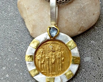 423ad1c2be4 Ancient Gold Coin Pendant, Authentic Byzantine ancient coin necklace ,  Heavy silver, gold , sapphire and Ancient coin Jewelry