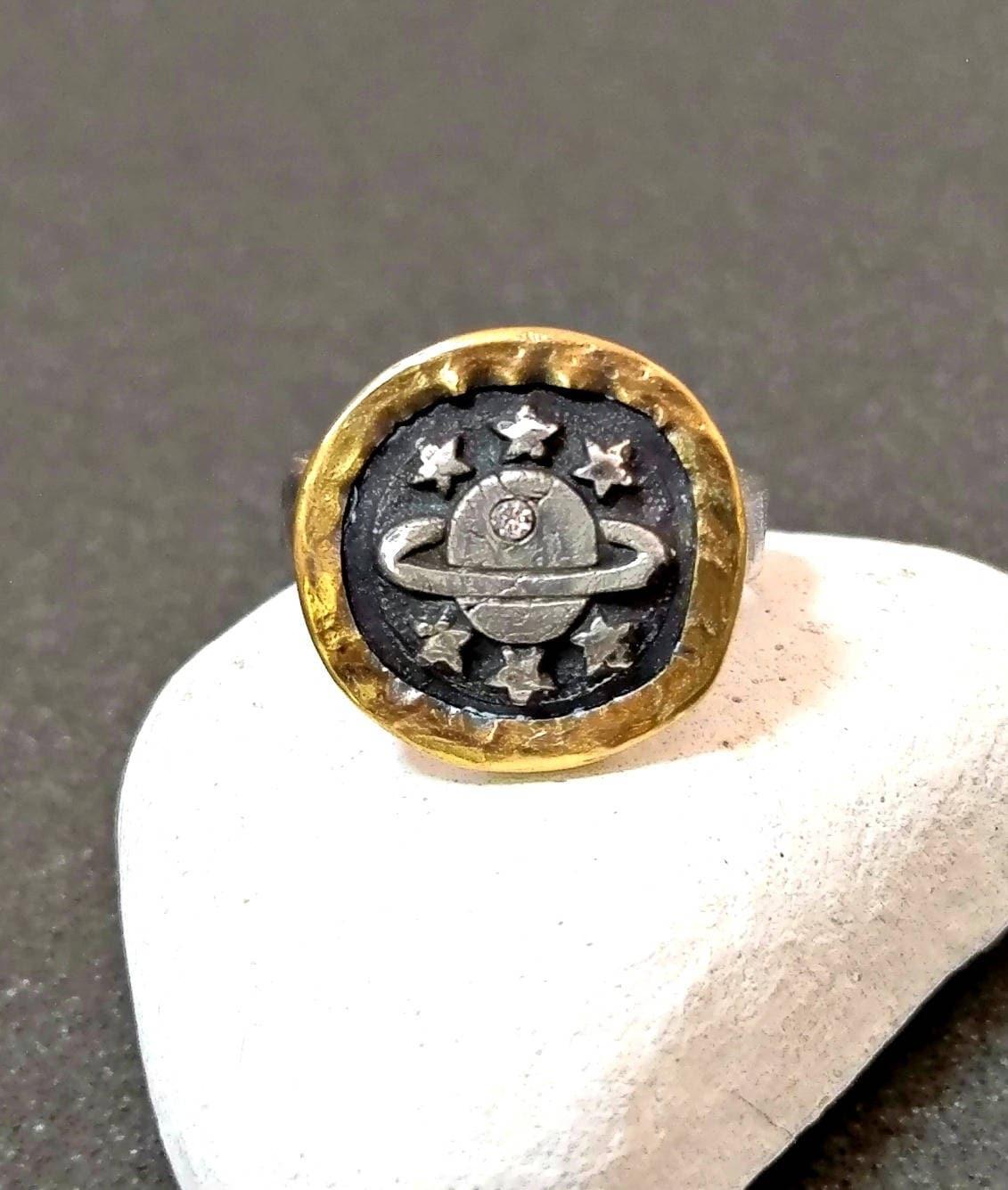 22kt Gold Platinum: Galaxy Diamond Ring Silver 22 Kt Gold And Diamond