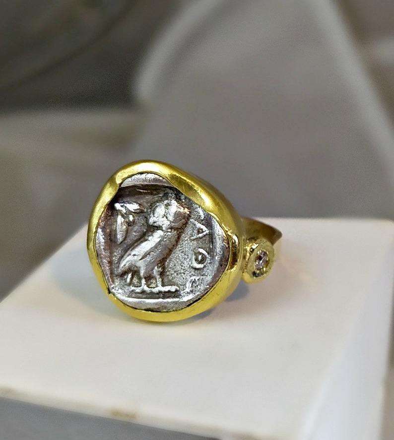 Ancient Coin Statement Ring 18 kt Gold and Diamond Coin ring image 0