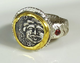 Greek Coin Statement Ring, Silver, 22 kt gold, Sapphire Ancient Coin Ring, Gorgon Ring, Ancient Coin Jewelry