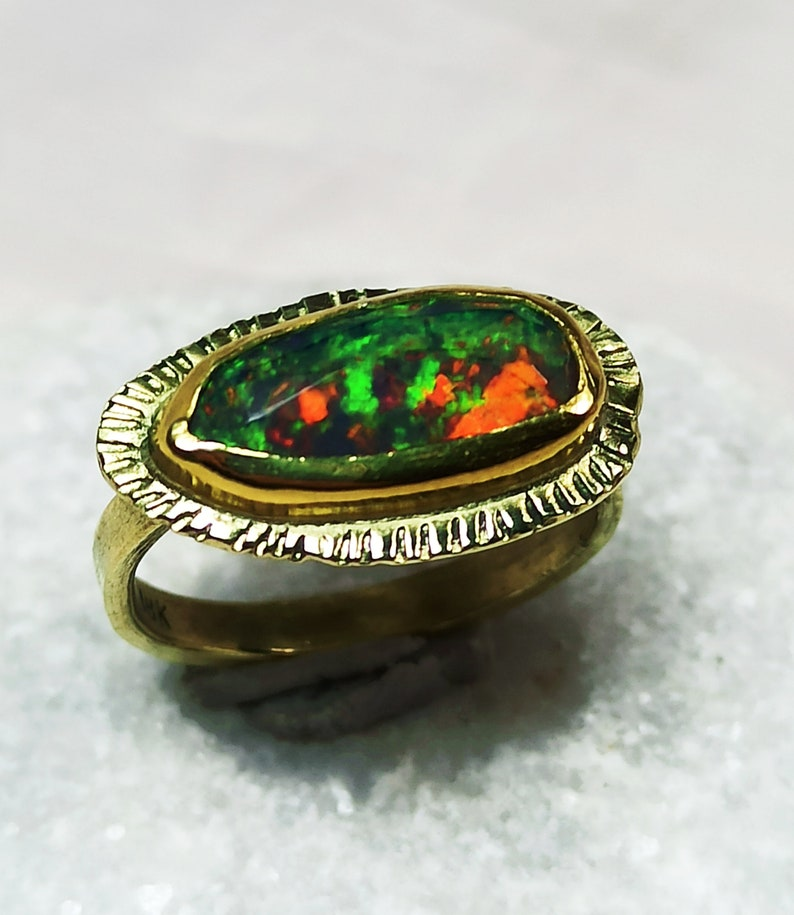 Black Opal Gold Solitaire Ring Natural Opal and 18 kt Solid image 0