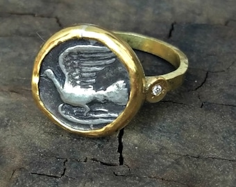 Ancient Coin Statement Ring ,Ancient Greek Coin ring, Solid 18kt gold and Diamond ring,Ancient coin Jewelry, Authentic coin, solid gold ring