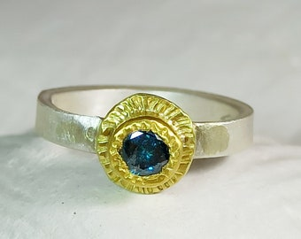 Blue Diamond Engagement Ring, 18 kt gold, Silver and Blue Diamond Solitaire Ring, Diaond Jewelry