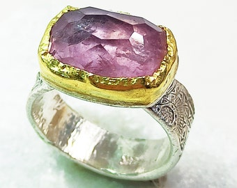 13 Carat Pink Tourmaline Solitaire Ring, 22 kt Gold, Silver and Pink Tourmaline Statement Ring, Tourmaline Jewelry