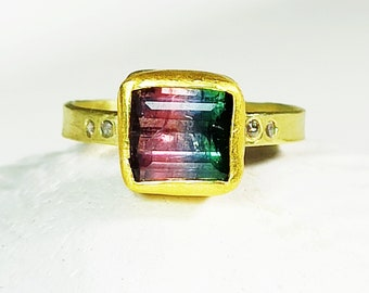 RESERVED FOR N,Watermelon Tourmaline Solitaire Ring, Solid 18 kt Gold , Tourmaline and Diamond Statement Ring, Tourmaline Jewelry