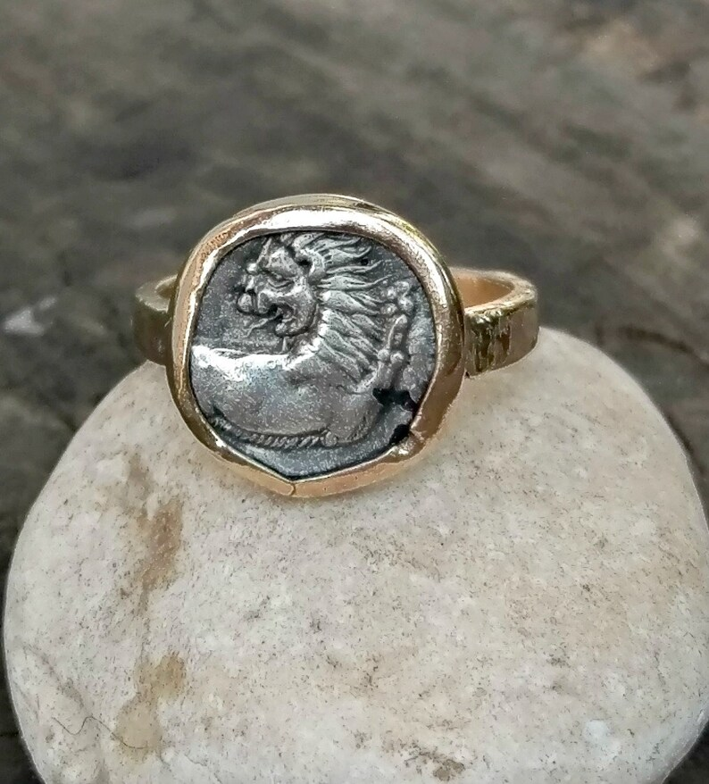 a61d230d6b35f Ancient Greek Coin Ring, 14 kt Solid gold Statement Ring, Ancient Coin  Jewelry, Ancient Lion coin ring, Leo Horoscope ring