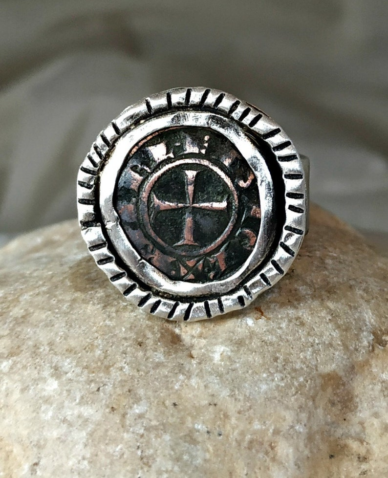 Statement Ring Crusader Coin  Ring authentic antique coin unisex Mens Ancient Coin Ring Silver ring sterling coin ring