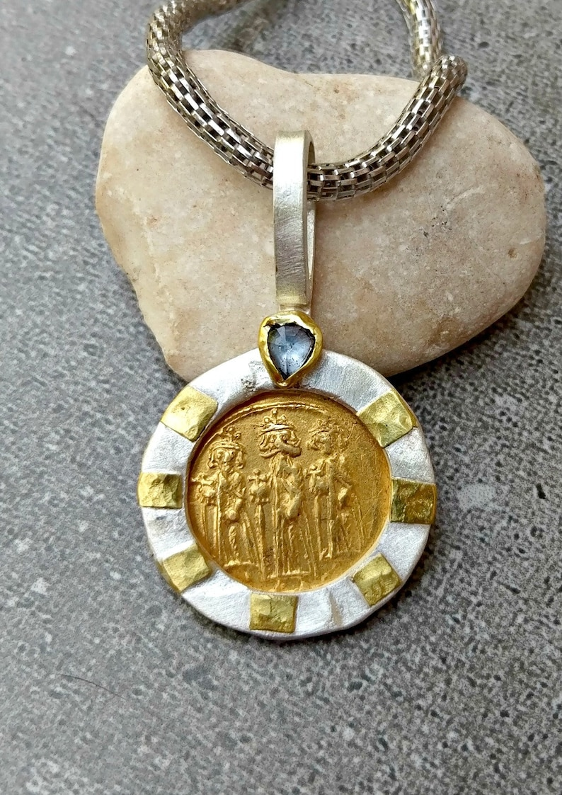 Ancient Gold Coin Pendant, Authentic Byzantine ancient coin necklace ,  Heavy silver, gold , sapphire and Ancient coin Jewelry