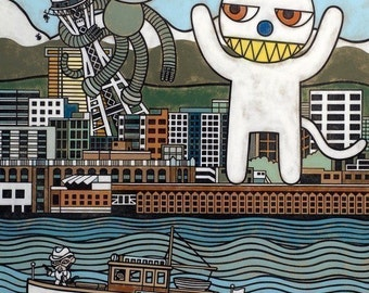 Monkey vs. Cat Art Print