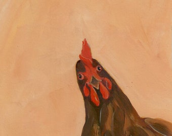 Can I Help You? - chicken acrylic painting digital download, digital wall art