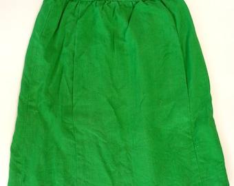 Emerald green linen vintage A line panel skirt S 60s Moygashel retro