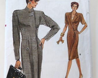 Very Easy Vogue 7061 vintage sewing pattern ladies double breasted coat dress top Size 6 8 10 un cut 1980s