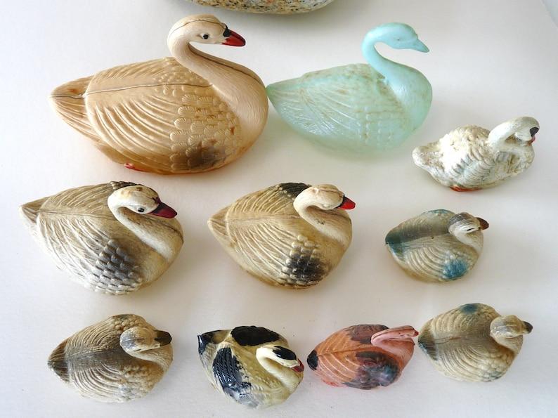 10 Antique vintage celluloid swans bird home decor collectible child pretent play