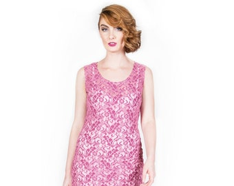 Pink Stretch Lace Sheath Dress