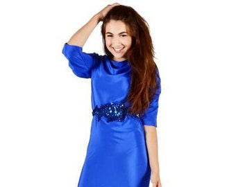 Blue Silk Shift Dress with Pleated Sleeves